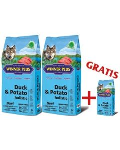 "WINNER PLUS HOLISTIC ""NEW"" Duck & Potato 2 x 12 kg Sparpaket + 2kg Gratis"