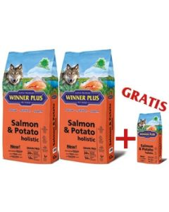 "WINNER PLUS HOLISTIC ""NEW"" Salmon & Potato 2 x 12 kg Sparpaket + 2kg Gratis"